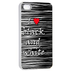 I Love Black And White 2 Apple Iphone 4/4s Seamless Case (white)