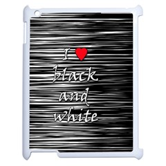 I love black and white 2 Apple iPad 2 Case (White)