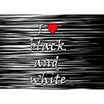 I love black and white 2 Heart 3D Greeting Card (7x5) Front