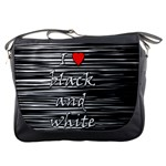 I love black and white 2 Messenger Bags Front