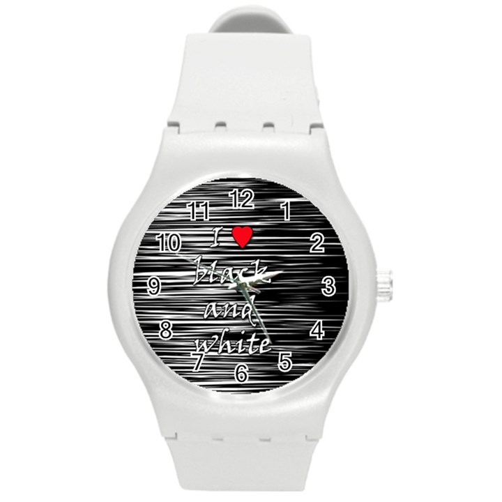 I love black and white 2 Round Plastic Sport Watch (M)
