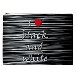 I love black and white 2 Cosmetic Bag (XXL)  Front