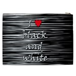 I love black and white 2 Cosmetic Bag (XXL)  Back
