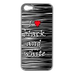 I love black and white 2 Apple iPhone 5 Case (Silver) Front