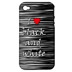 I Love Black And White 2 Apple Iphone 4/4s Hardshell Case (pc+silicone)