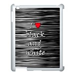 I love black and white 2 Apple iPad 3/4 Case (White) Front
