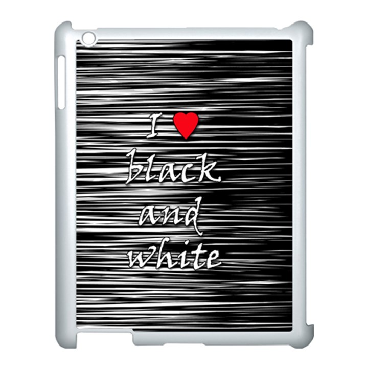 I love black and white 2 Apple iPad 3/4 Case (White)