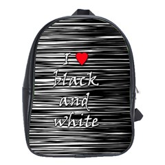 I Love Black And White 2 School Bags (xl)