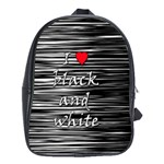 I love black and white 2 School Bags (XL)  Front