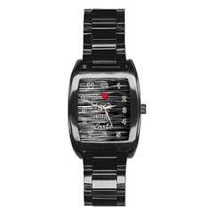 I love black and white 2 Stainless Steel Barrel Watch