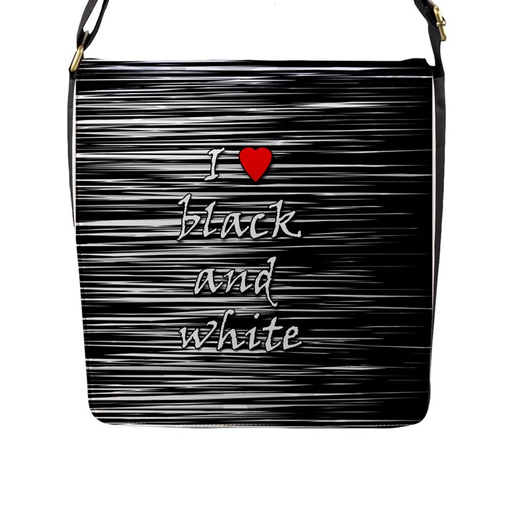 I love black and white 2 Flap Messenger Bag (L)