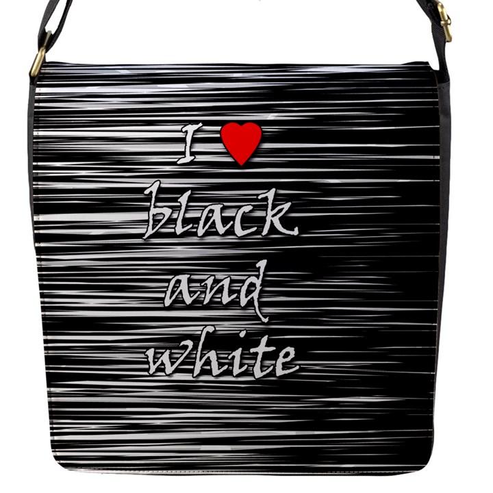 I love black and white 2 Flap Messenger Bag (S)