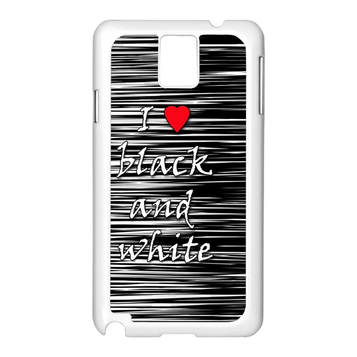 I love black and white 2 Samsung Galaxy Note 3 N9005 Case (White)