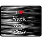 I love black and white 2 Double Sided Fleece Blanket (Large)  80 x60 Blanket Back