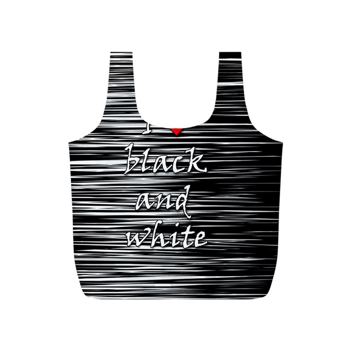 I love black and white 2 Full Print Recycle Bags (S)