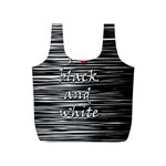 I love black and white 2 Full Print Recycle Bags (S)  Back