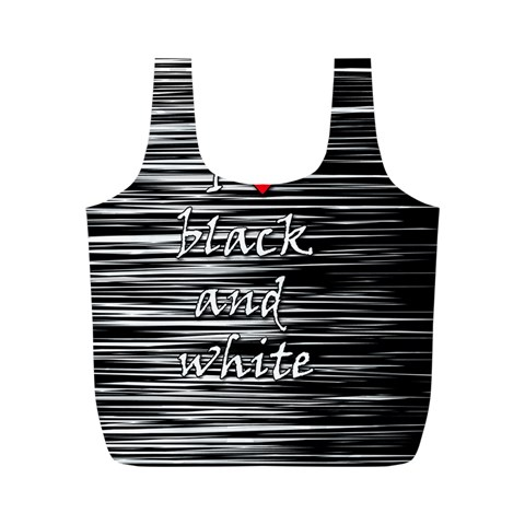 I love black and white 2 Full Print Recycle Bags (M)