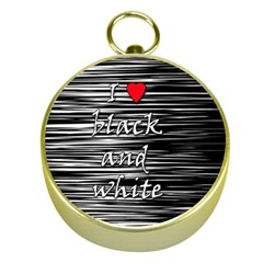 I Love Black And White 2 Gold Compasses