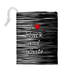 I love black and white 2 Drawstring Pouches (Large)  Back