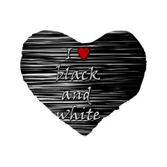 I love black and white 2 Standard 16  Premium Flano Heart Shape Cushions