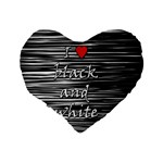 I love black and white 2 Standard 16  Premium Flano Heart Shape Cushions Back