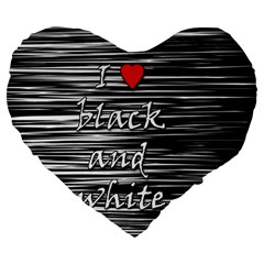 I love black and white 2 Large 19  Premium Flano Heart Shape Cushions