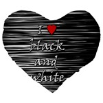 I love black and white 2 Large 19  Premium Flano Heart Shape Cushions Front