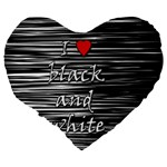I love black and white 2 Large 19  Premium Flano Heart Shape Cushions Back