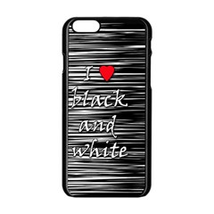 I love black and white 2 Apple iPhone 6/6S Black Enamel Case