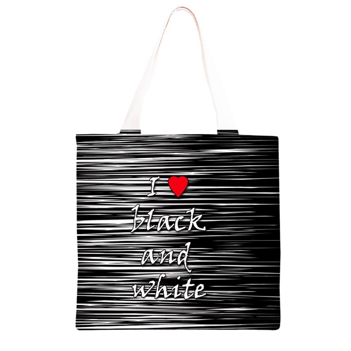 I love black and white 2 Grocery Light Tote Bag