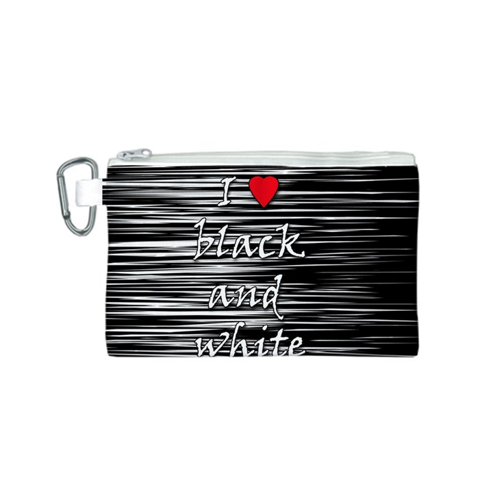 I love black and white 2 Canvas Cosmetic Bag (S)