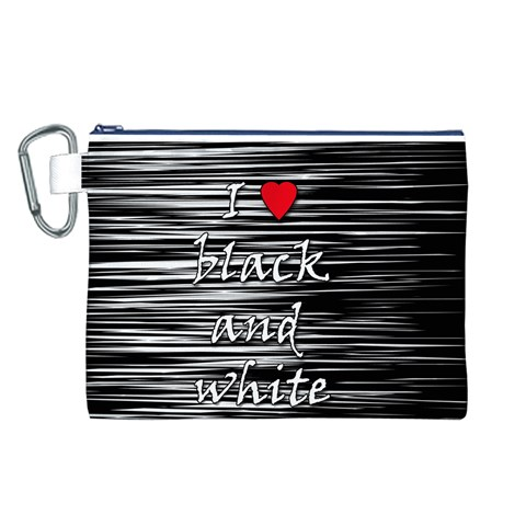 I love black and white 2 Canvas Cosmetic Bag (L)