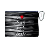 I love black and white 2 Canvas Cosmetic Bag (L) Back