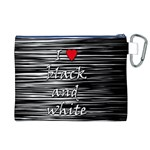 I love black and white 2 Canvas Cosmetic Bag (XL) Back