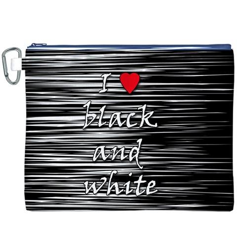 I love black and white 2 Canvas Cosmetic Bag (XXXL)