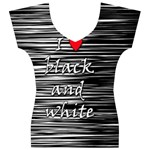 I love black and white 2 Women s V-Neck Cap Sleeve Top Front