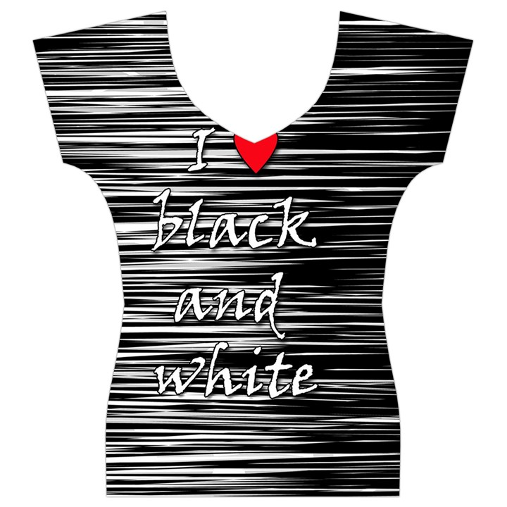I love black and white 2 Women s V-Neck Cap Sleeve Top
