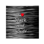 I love black and white 2 Small Satin Scarf (Square) Front