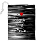 I love black and white 2 Drawstring Pouches (XXL) Back