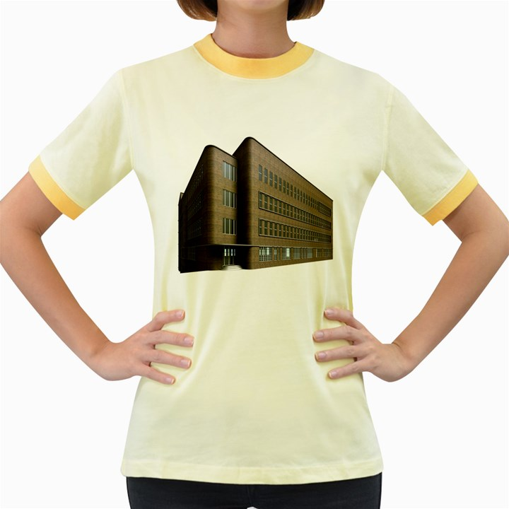 Office Building Villa Rendering Women s Fitted Ringer T-Shirts