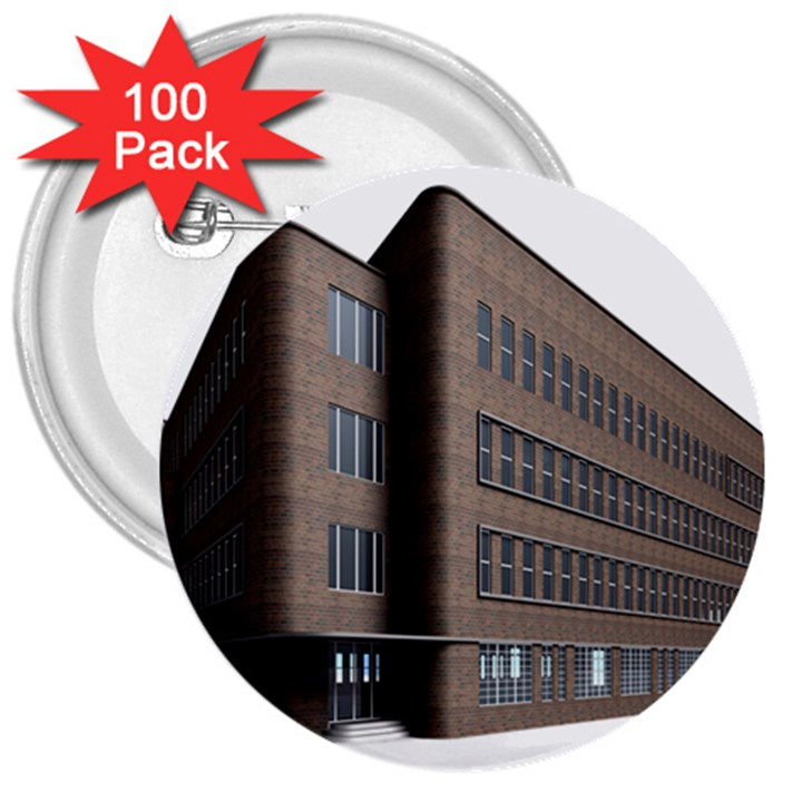 Office Building Villa Rendering 3  Buttons (100 pack)