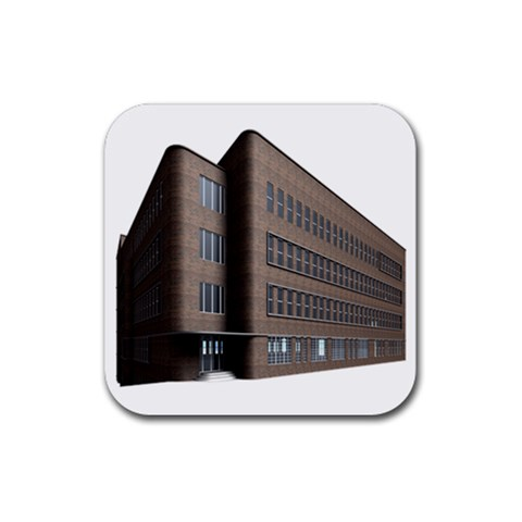 Office Building Villa Rendering Rubber Square Coaster (4 pack)