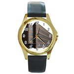 Office Building Villa Rendering Round Gold Metal Watch Front