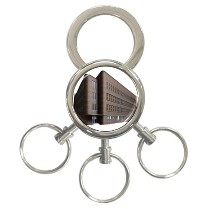 Office Building Villa Rendering 3-Ring Key Chains