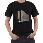 Office Building Villa Rendering Men s T-Shirt (Black) (Two Sided) Front