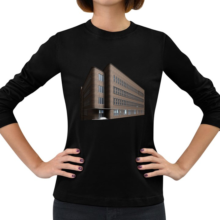 Office Building Villa Rendering Women s Long Sleeve Dark T-Shirts