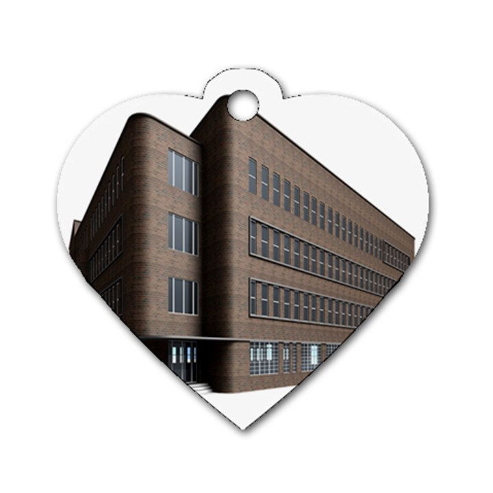 Office Building Villa Rendering Dog Tag Heart (One Side)