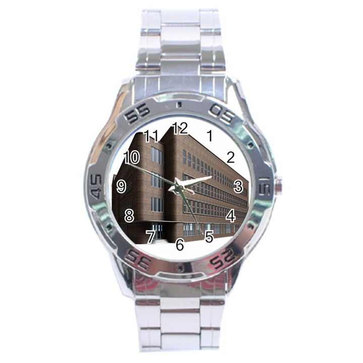 Office Building Villa Rendering Stainless Steel Analogue Watch