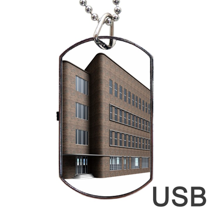 Office Building Villa Rendering Dog Tag USB Flash (Two Sides)