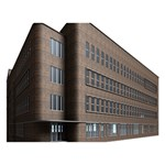 Office Building Villa Rendering Peace Sign 3D Greeting Card (7x5) Back